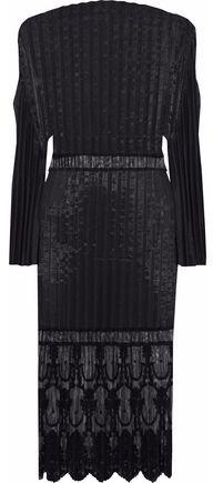 Stella McCartney Plisse-taffeta Embroidered Tulle Cotton-blend Dress