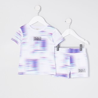 River Island Mini boys White tie dye t-shirt outfit