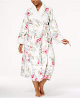 Charter Club Plus Size Long Floral-Print Contrast Cotton Robe, Created for Macy's