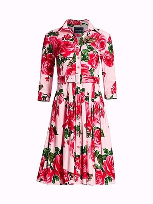 Samantha Sung Audrey Belted Rose Shirtdress