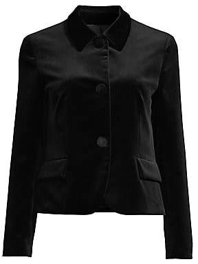 Piazza Sempione Women's Point Collar Velvet Utility Jacket
