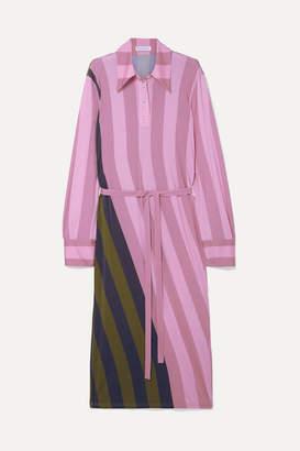 J.W.Anderson Belted Striped Stretch-jersey Midi Dress - Pink
