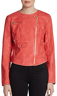Members Only Faux Leather Cropped Moto Jacket
