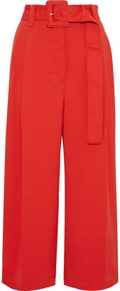 Proenza Schouler Cropped Belted Canvas Wide-leg Pants