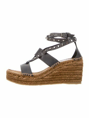 Jimmy Choo Leather Studded Accents Espadrilles Grey