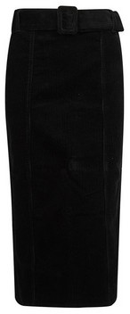 Dorothy Perkins Womens Tall Black Corduroy Belted Midi Skirt, Black