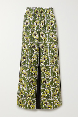 Loewe Printed Silk-twill And Crepe Wide-leg Pants - Yellow