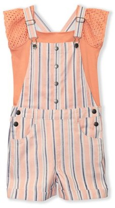 Sunset Sky Girls 4-12 Peasant Sleeve Top and Striped Shortall, 2-Piece Outfit Set