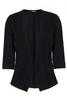 Quiz Black 3/4 Sleeve Turn Up Jacket