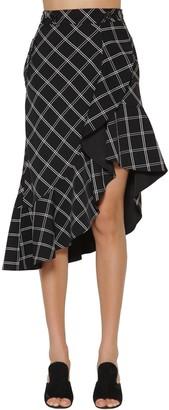 Self-Portrait Ruffled Printed Crepe Midi Skirt