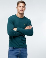 Abercrombie & Fitch Long Sleeve Top Slim Fit Pop Icon Crew Neck In Green
