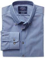 Charles Tyrwhitt Extra slim fit non-iron poplin blue and white stripe shirt