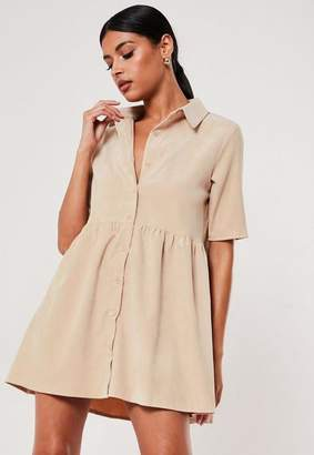 Missguided Petite Nude Cord Smock Shirt Dress