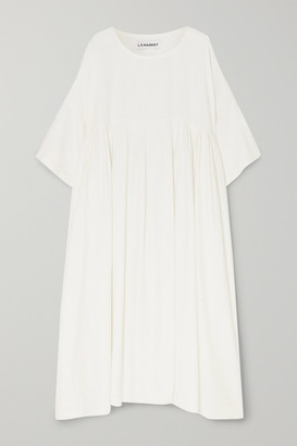 L.F. Markey Mega Oversized Pleated Slub Linen Dress - White