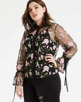 Unique 21 Emboridered Floral Blouse with Fluted Sleeves