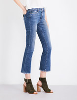 Paige Colette distressed flared cropped high-rise jeans