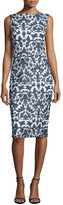 Badgley Mischka Sleeveless Floral-Print Sheath Dress, Navy/White