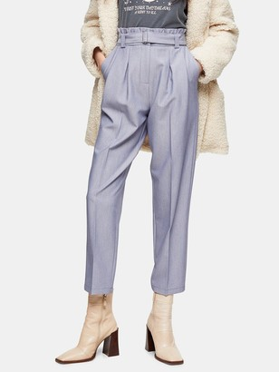 Topshop Lima Belted Trousers - Blue