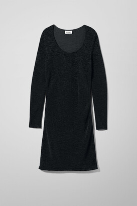 Weekday Cindy Crinkle Velvet Dress - Black