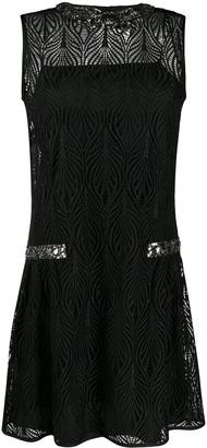 Alberta Ferretti Rhinestone-Embellished Lace Dress