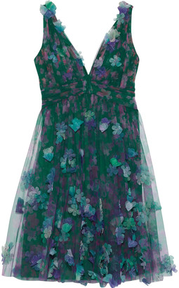 Marchesa Appliqued Pleated Floral-print Tulle Mini Dress