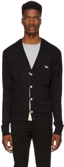 MAISON KITSUNÉ Black Tricolor Fox Patch Cardigan
