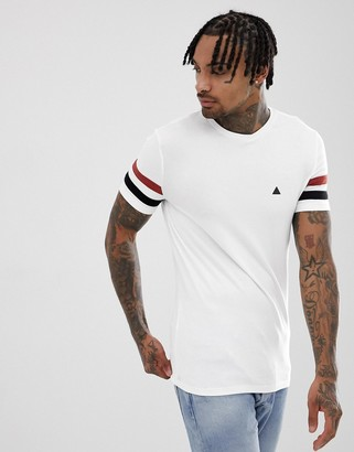 Asos Design DESIGN muscle t-shirt with stretch and contrast sleeve panels and logo in white