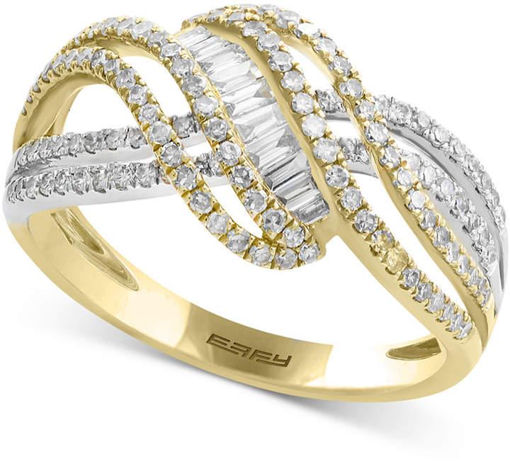 Effy Duo by Diamond Crisscross Swirl Ring (3/4 ct. t.w.) in 14k Gold & White Gold