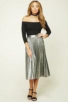 Forever 21 FOREVER 21+ Pleated Metallic Midi Skirt
