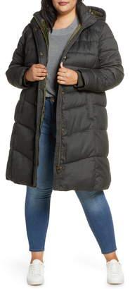 Barbour Lonnen Herringbone Channel Quilted Hooded Coat