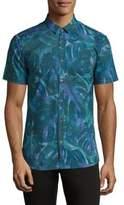 HUGO BOSS Palm-Print Grid Shirt