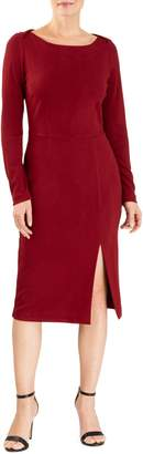 Forest Lily Crepe Long-Sleeve Sheath Dress