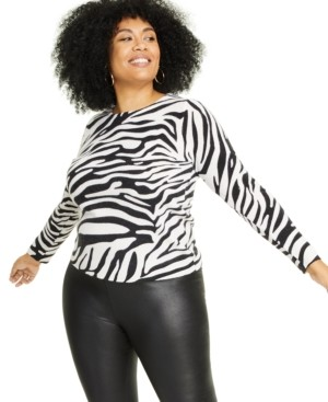 Charter Club Plus Size Cashmere Zebra-Print Sweater, Created for Macy's