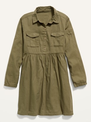 Old Navy Pop-Color Twill Utility Shirt Dress for Girls