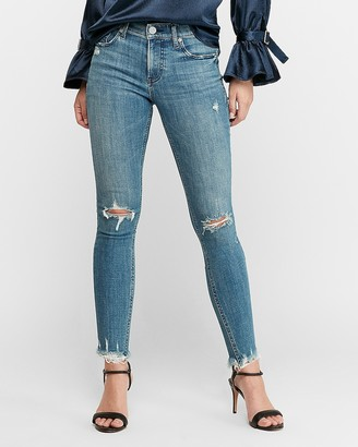 Express High Waisted Hyper Stretch Ripped Raw Hem Ankle Skinny Jeans