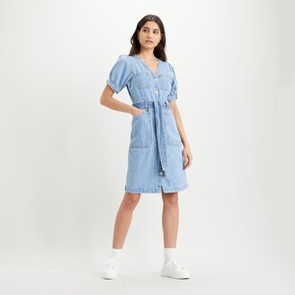 Levi's Denim Shirt Dress with Short Puff Sleeves