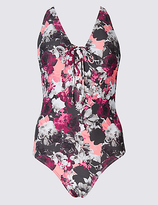 M&S Collection Secret SlimmingTM Floral Print Plunge Swimsuit