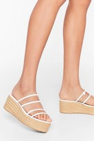 Nasty Gal Womens Do We Make Ourselves Clear Woven Platform Sandals - white - 3