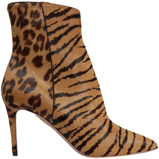 Aquazzura Alma Printed Calf Hair Ankle Boots