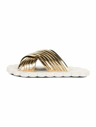 Marni Patent Leather Printed Slides Gold