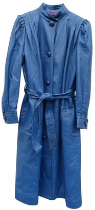 Christian Dior Blue Leather Coat for Women Vintage