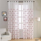 Top Finel Embroidered Soccer Window Treatments Faux Linen Semi Sheer Curtain Panels for Kids Children Room 54 X 84 inch Length Set of 2,Grommets Top,Red