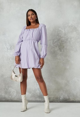 Missguided Lilac Ruched Puff Ball Mini Dress