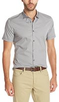 John Varvatos Men's Short Sleeve Slim Fit Mini Collar Button Down Shirt