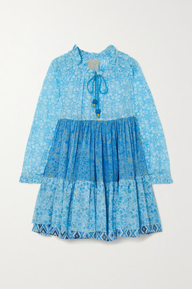 Yvonne S Tiered Ruffled Floral-print Cotton-voile Mini Dress - Blue
