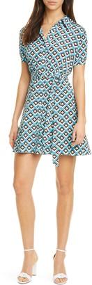 Diane von Furstenberg Jett Geo Print Silk Mini Shirtdress