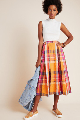 Maeve Pippa Pleated Midi Skirt By in Orange Size S