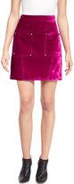 Opening Ceremony Croc-Embossed High-Waist Mini Skirt, Plum-Purple