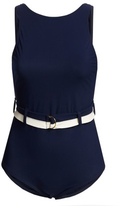 Karla Colletto Swim Katherine Boatneck Belted One-Piece Swimsuit