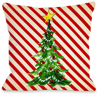 "One Bella Casa Christmas Tree Stripes, Cream Red, 18""x18"" Pillow by Timree"